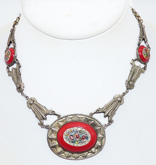 Victorian - Red Glass Micro Mosaic Necklace