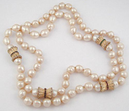 Pearl Jewelry - Faux Baroque Pearl Rope Necklace