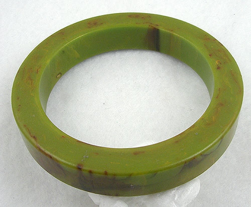 Bracelets - Marbled Pea Soup Bakelite Bangle
