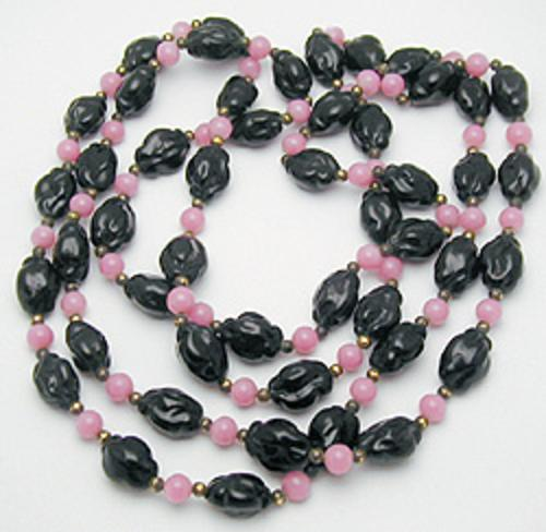 End of Year Sale! 30-50% OFF - Flapper Pink and Black Glass Bead Necklace