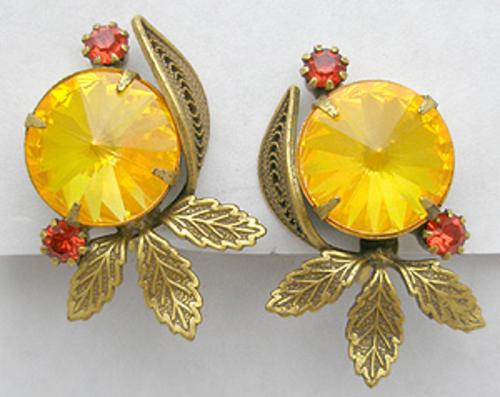 Autumn Fall Colors Jewelry - Gold Rivoli Brass Leaves Earrings