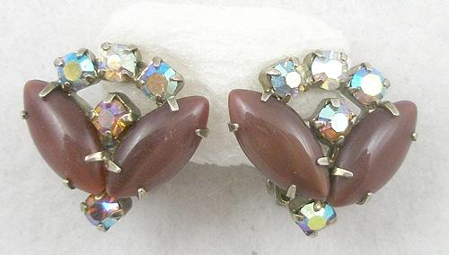 Earrings - Chocolate Glass Moonstone Earrings