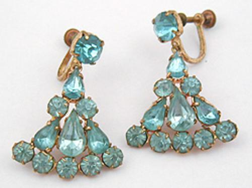 Newly Added Czech Aqua Rhinestone Earrings