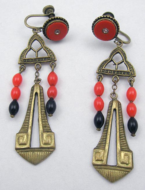 Art Deco - Art Deco Brass Earrings