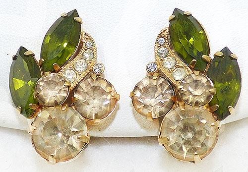 Newly Added Eisenberg Peridot Light Topaz Rhinestone Earrings