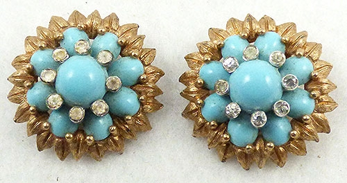 Mazer/Jomaz - Jomaz Aqua Cabochon Sunflower Earrings