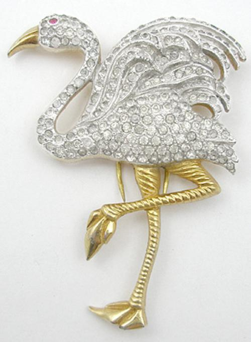 Figural Jewelry - Birds & Fish - Flamingo Fur Clip