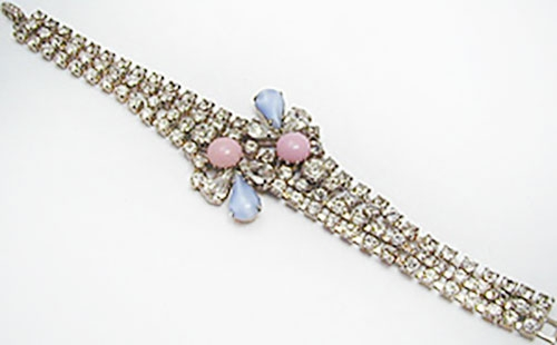 Spring Pastel Jewelry - Rhinestone with Pink and Blue Glass Moonstone Bracelet