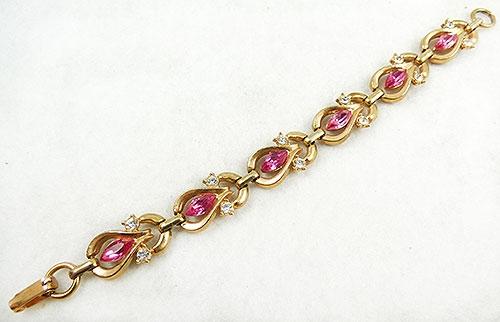 Bracelets - Pink Rhinestone Navette Knot Bracelet