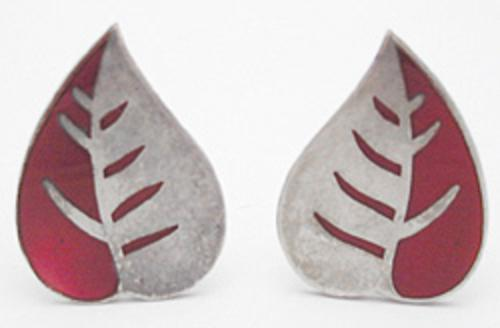 Leaves & Plants - Red Enameled Silver Leaf Earrings
