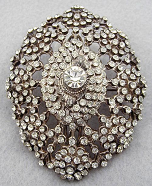 Brooches - Edwardian Silver Pastes Sash Pin