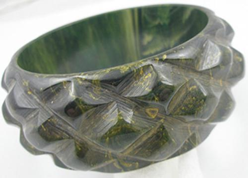 Newly Added Pineapple Carved Creamed Spinach Bakelite Bangle