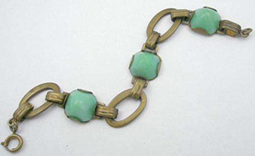 Newly Added Art Deco Green Glass & Brass Bracelet