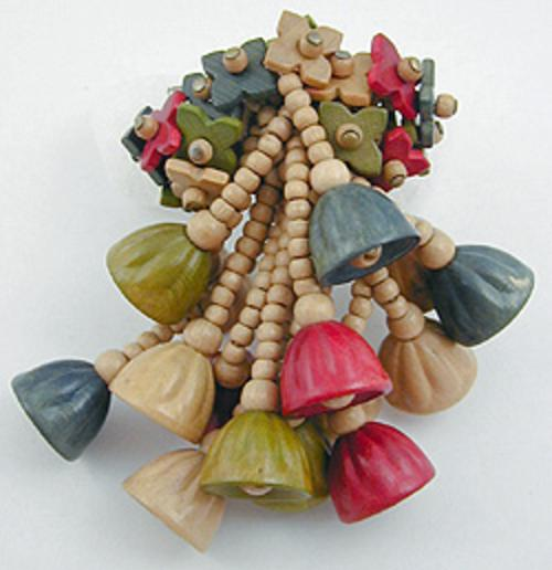Brooches - Miriam Haskell Wood Beads Brooch