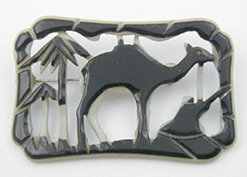 Bakelite, Celluloid, Galalith - Celluloid Camel Brooch