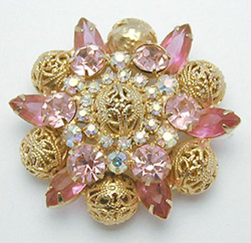 Newly Added DeLizza & Elster Pink Rhinestone Brooch