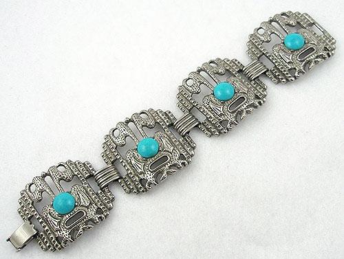 Ethnic & Boho - 1970's Silver Mask Bracelet