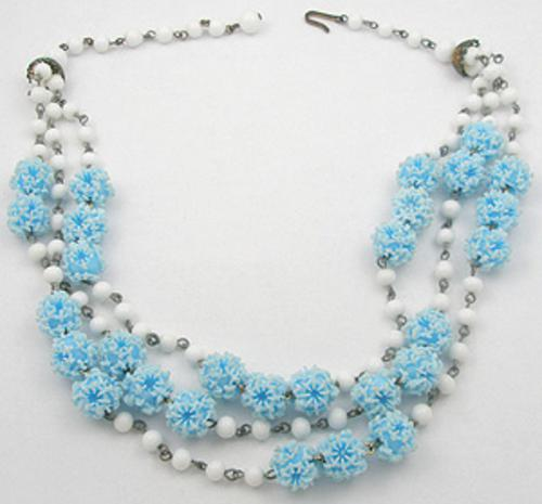 End of Year Sale! 30-50% OFF - Triple Strand Aqua Bead Necklace