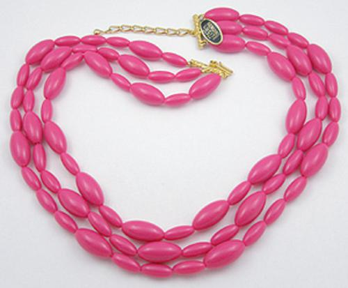 Summer Hot Colors Jewelry - Japan Fuchsia Lucite Beads Necklace