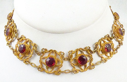 Art Nouveau - Art Nouveau Red Rhinestone Necklace