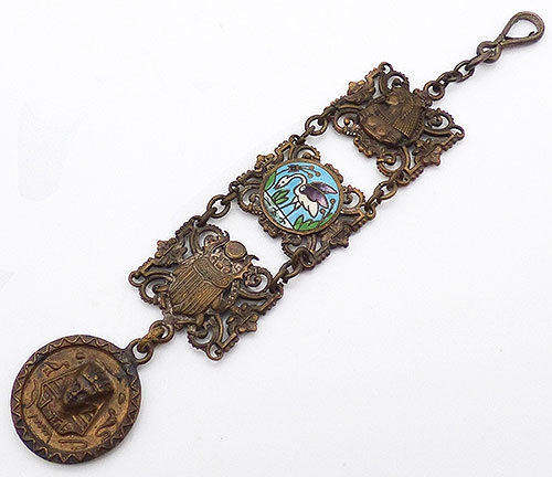 Art Deco - Egyptian Revival Panels Watch Fob