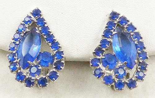 Earrings - Weiss Blue Rhinestone Earrings