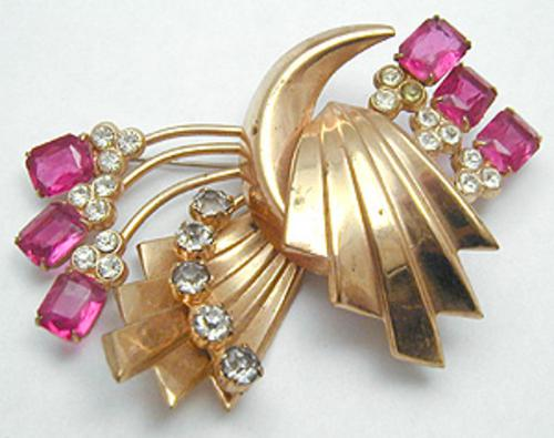 Newly Added Retro Ribbon Pink Rhinestone Spray Brooch