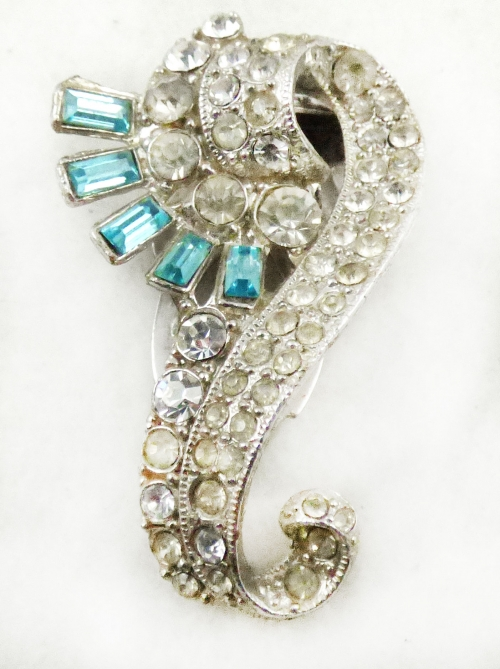 Dress & Fur Clips - Aqua Rhinestone Baguette Dress Clip