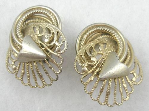 Earrings - Gold Tone Filigree Arrow Earrings