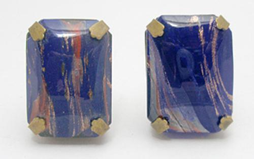 Earrings - Blue Art Glass Earrings