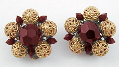 Newly Added Lisner Ruby Glass Bead Earrings