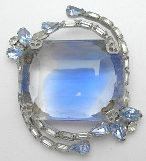Brooches - Blue Givre Glass Brooch