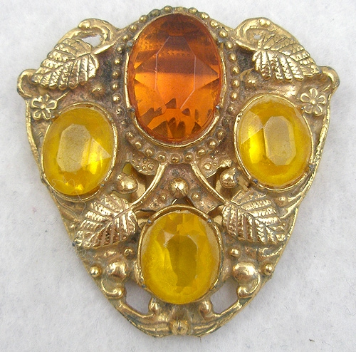 Autumn Fall Colors Jewelry - Amber and Golden Topaz Dress Clip