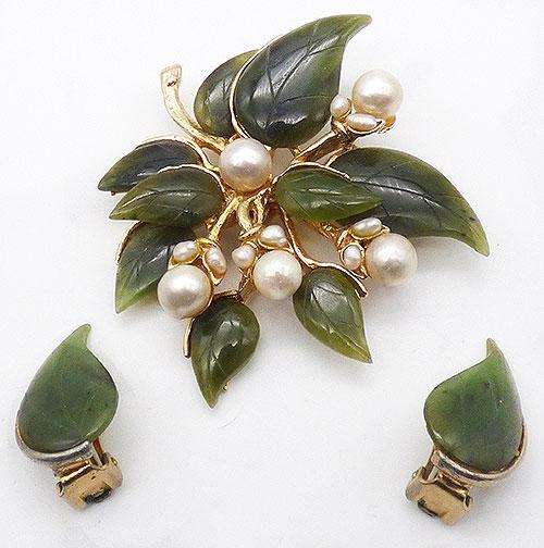 Florals - Swoboda Jade Pearl Floral Brooch Set