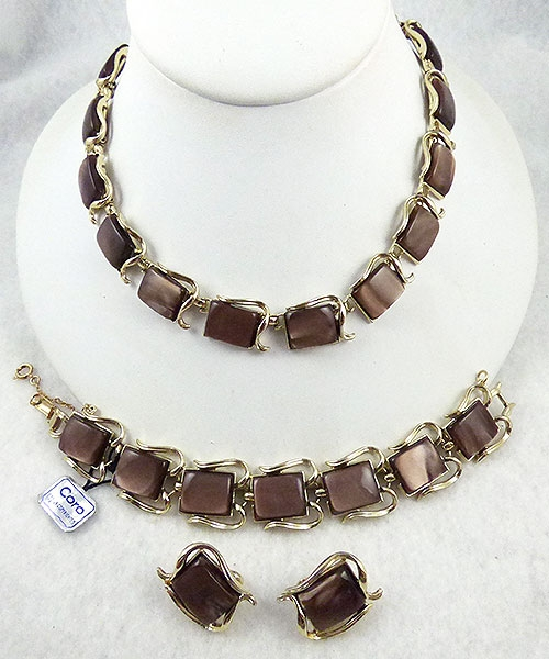 Sets & Parures - Coro Chocolate Brown Moonglow Lucite Parure