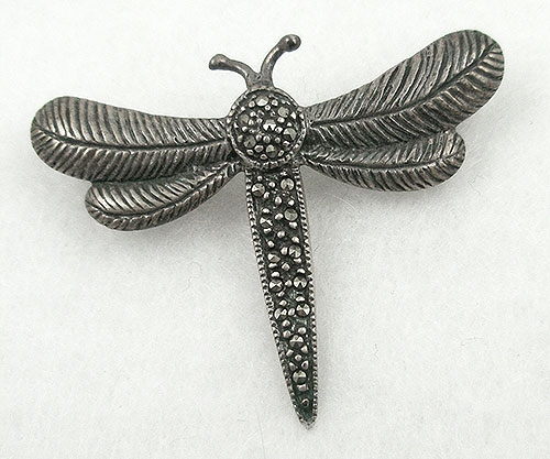Brooches - Sterling Marcasite Dragonfly Brooch