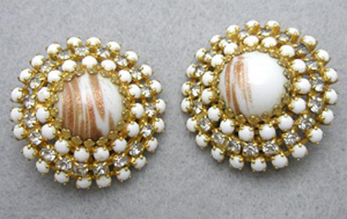 Newly Added Hobe' White Glass & Rhinestone Earrings