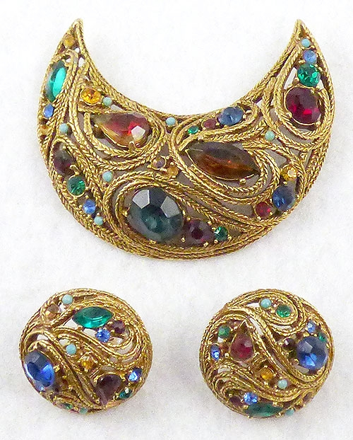 Art - Art Crescent Brooch Set