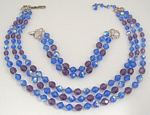 Crystal Bead Jewelry - Marvella Blue Crystal Demi-Parure