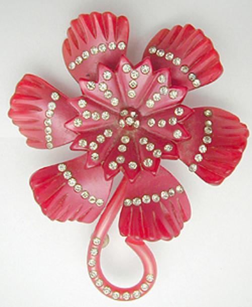 Newly Added Moonglow Lucite Flower Brooch
