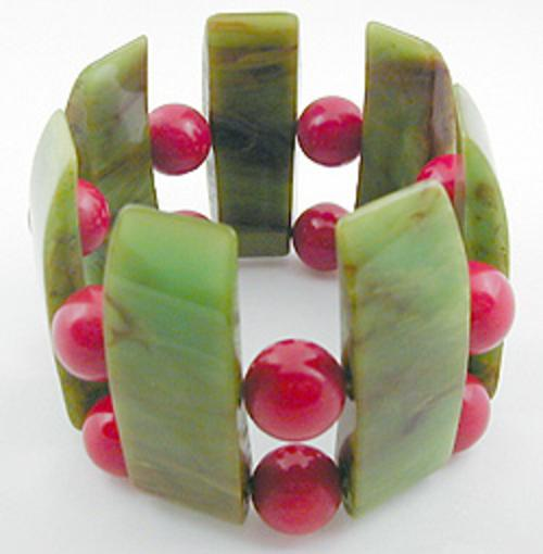 Bakelite, Celluloid, Galalith - Marbled Green Slice & Red Bead Bakelite Stretch Bracelet