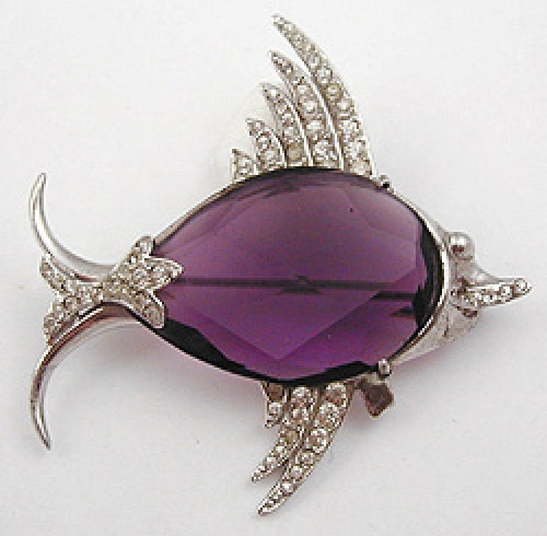 Newly Added Sterling Amethyst Glass Fish Brooch