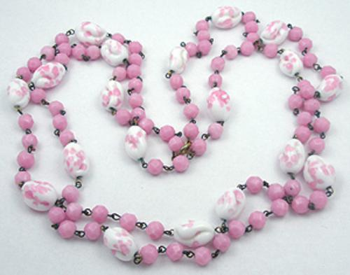 Necklaces - Pink Glass Flapper Beads Necklace