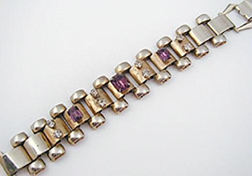 Newly Added Book Chain Amethyst Rhinestone Bracelet