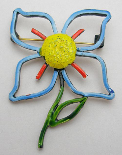 Art - Art Enameled Flower Brooch