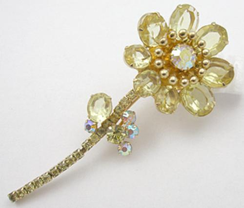 Newly Added Yellow Rhinestone Flower Brooch