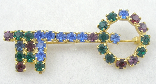 Figural Jewelry - Objects & Things - Colorful Rhinestone Key Brooch