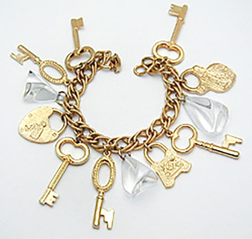 Newly Added Gold Lock and Key Lucite Charm Bracelet