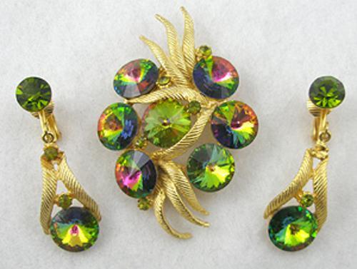 Sets & Parures - Watermelon Rivoli Brooch Earrings Set