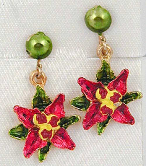 Christmas and Holidays - Enameled Poinsettia Earrings